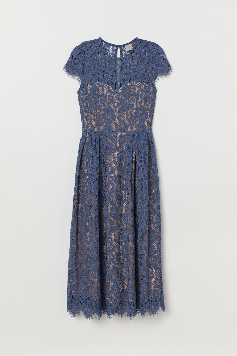 Calf-length lace dress - Dark pigeon blue - Ladies | H&M