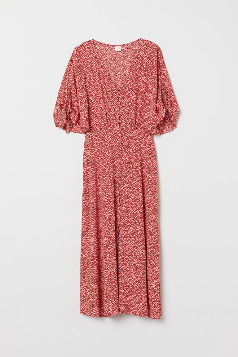 Crêped Dress - Red/floral - Ladies | H&M US