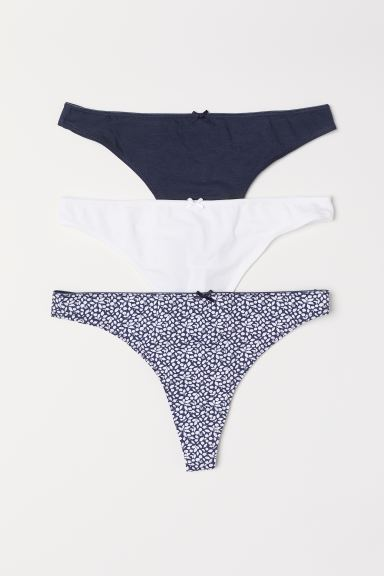 Thong in cotone, 3 pz - Blu scuro/fantasia - DONNA | H&M IT