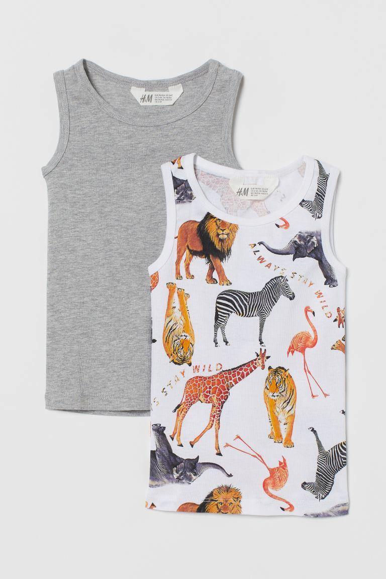 2-pack cotton vest tops - White/Animals - Kids   H&M GB