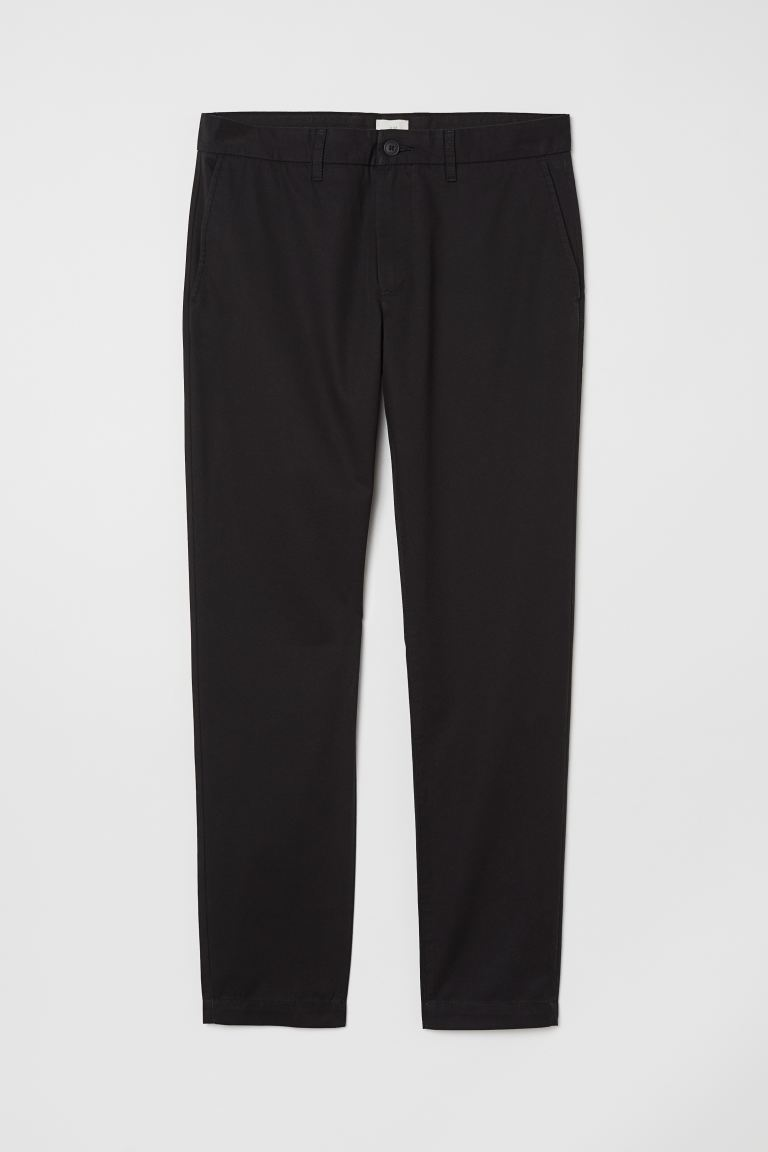 Baumwollchino Slim Fit - Schwarz - Men | H&M DE