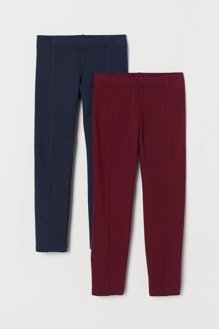 2-pack sturdy jersey leggings - Dark red/Dark blue - Kids | H&M