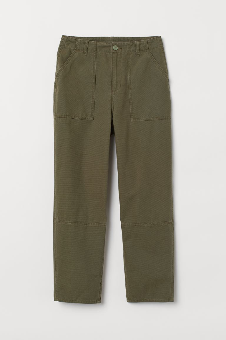 Cotton ankle-length trousers - Dark khaki green - Ladies | H&M GB