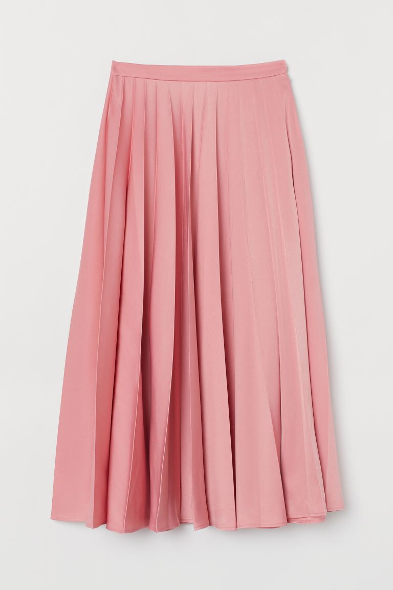 Pleated satin skirt - Pink - Ladies | H&M IE
