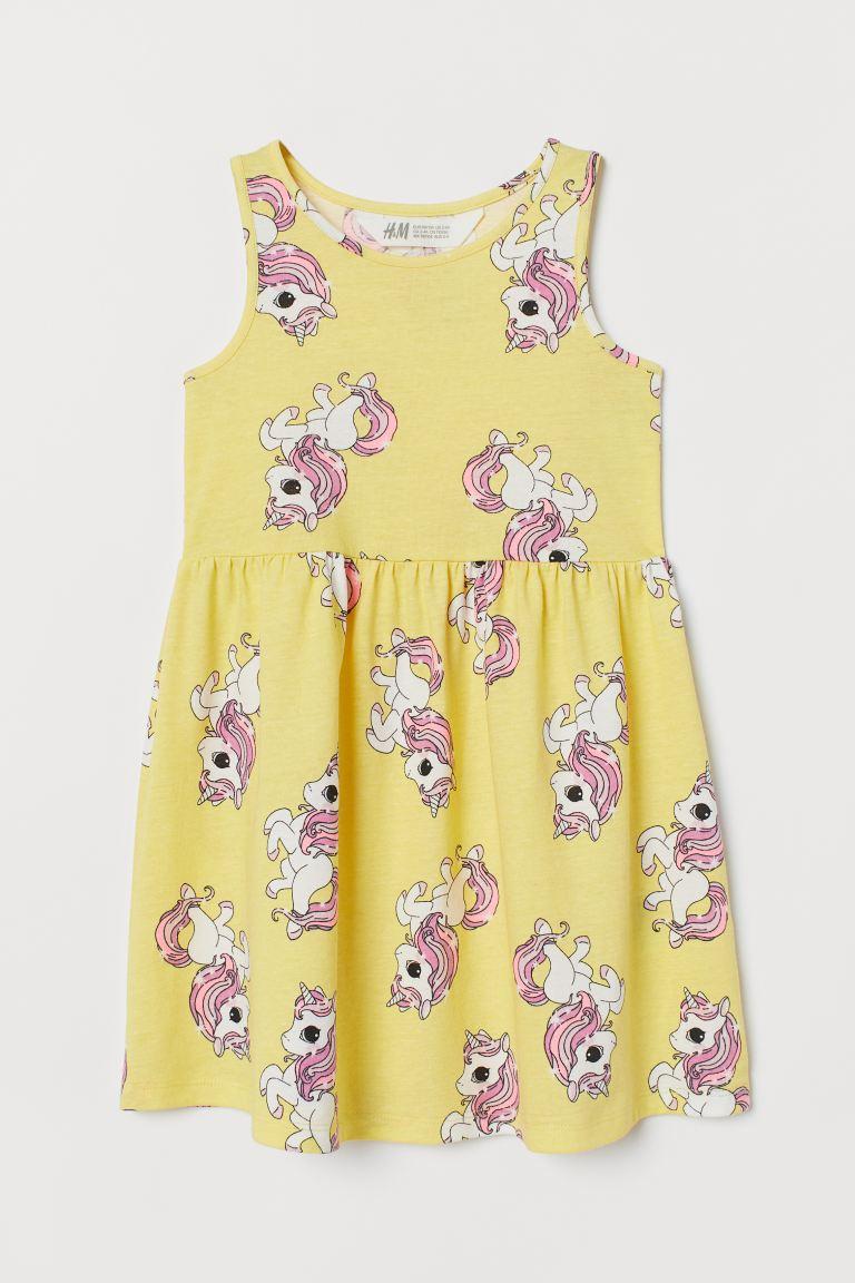 Patterned jersey dress - Yellow/Unicorns - Kids | H&M GB