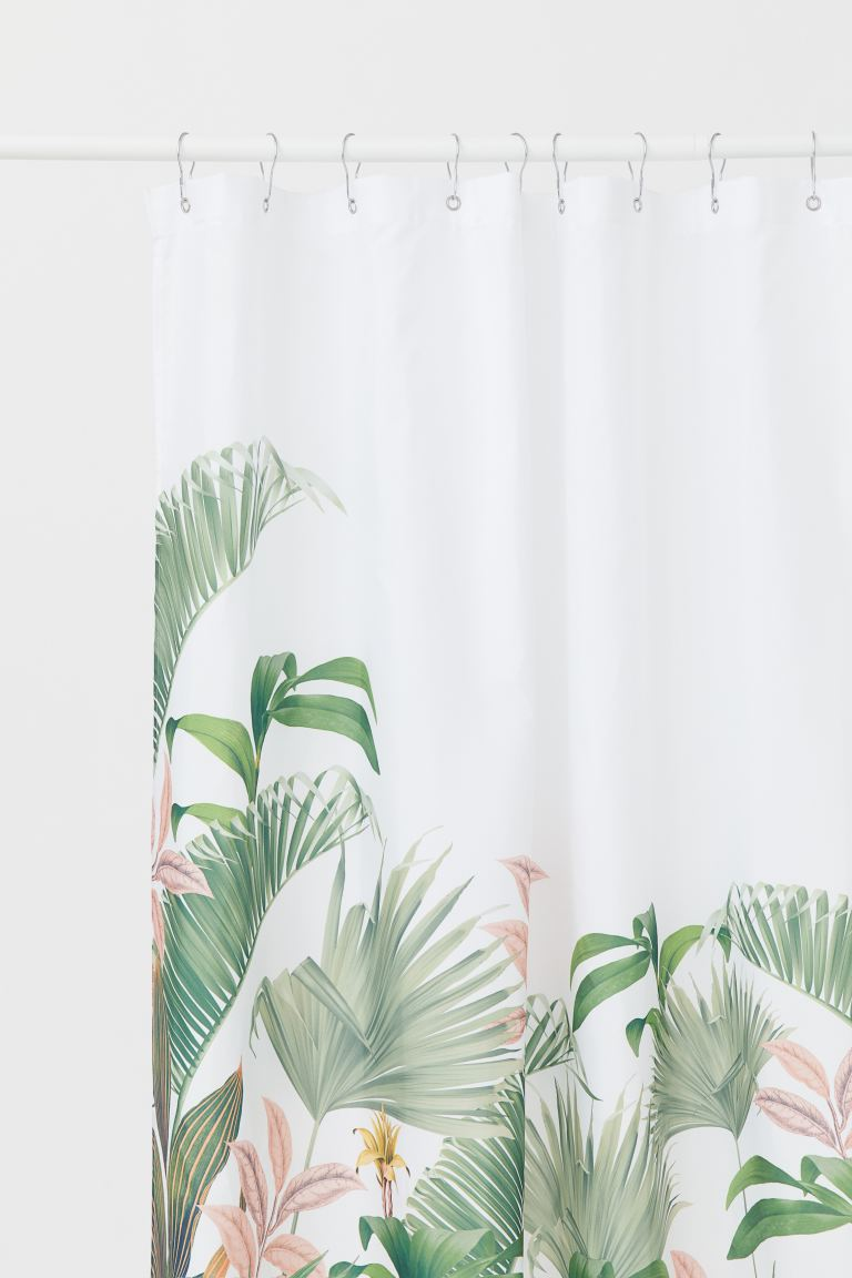 Printed shower curtain - White/Leaf print - Home All | H&M IE