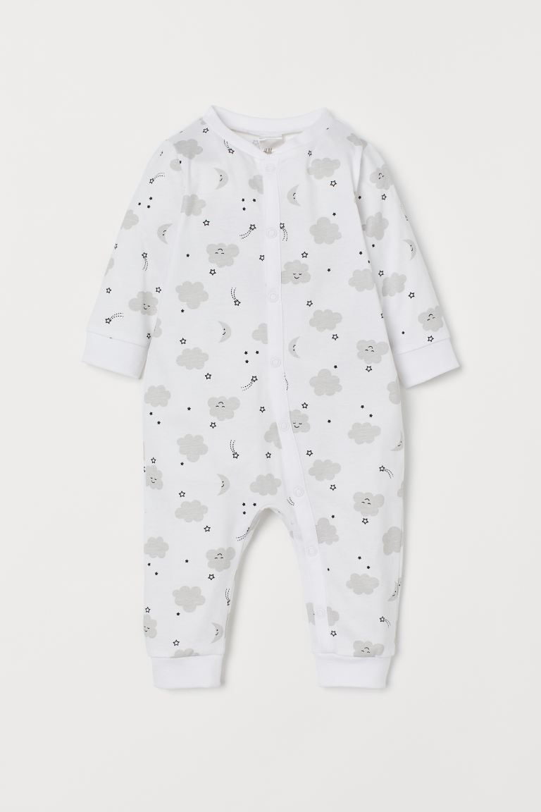 Cotton all-in-one pyjamas - White/Clouds - Kids | H&M