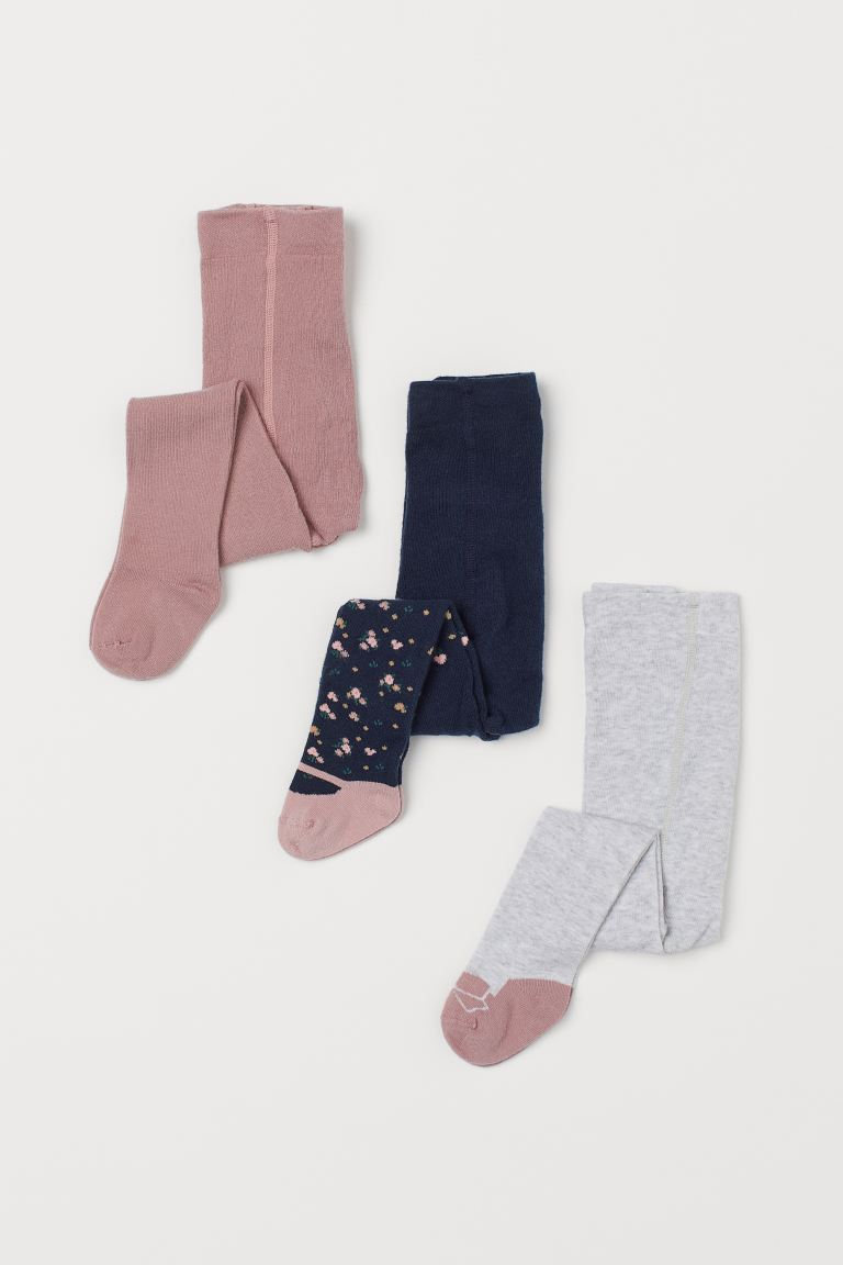 3-pack Tights - Dark blue/floral - Kids | H&M CA