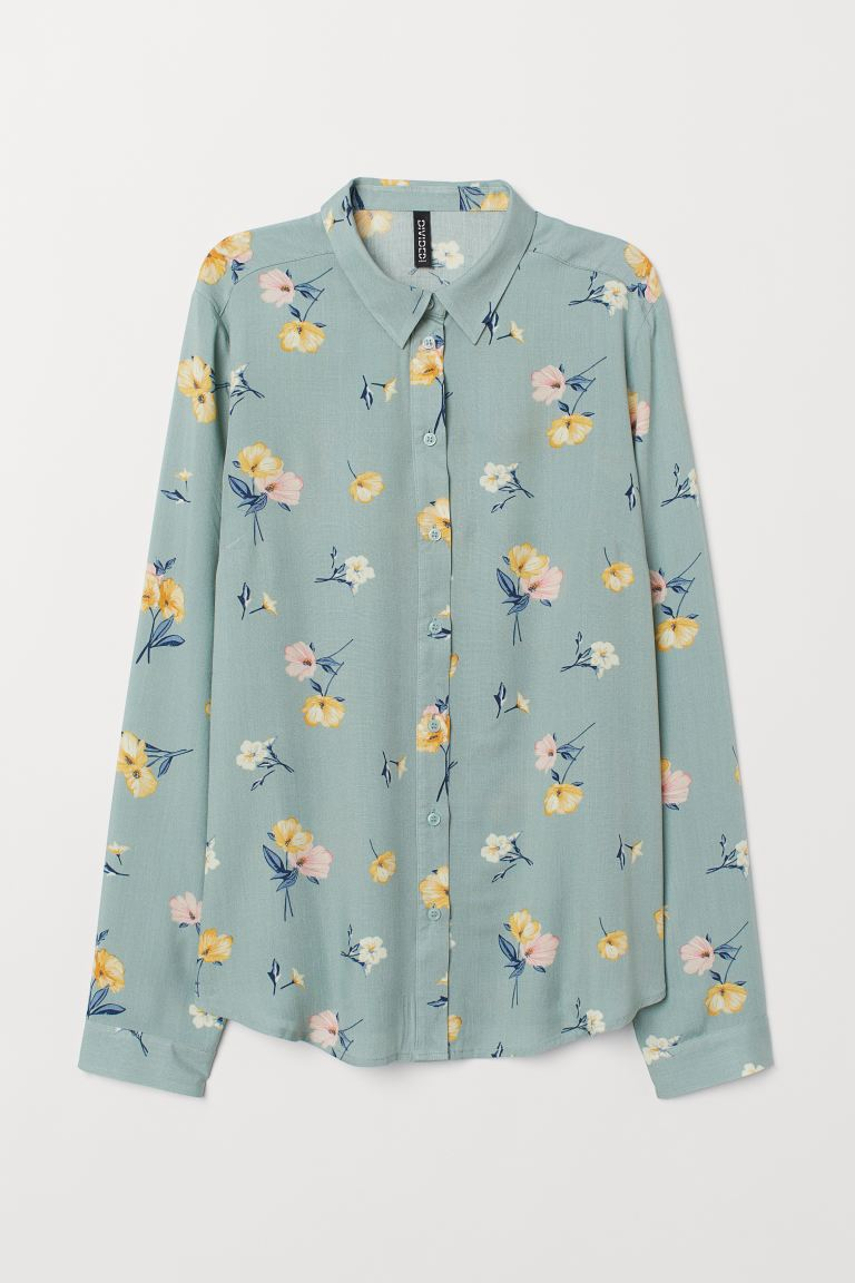 Viscose shirt - Dusky green/Floral - Ladies | H&M IN