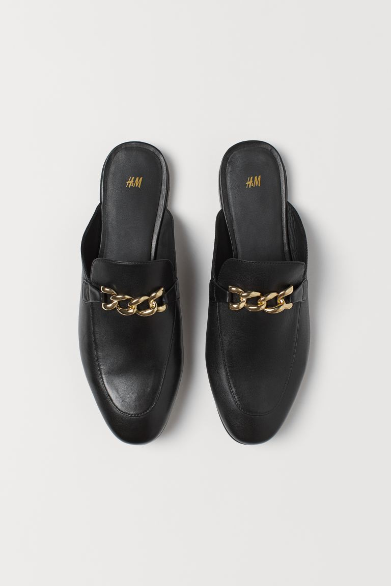 Slipper aus Leder - Schwarz - Men | H&M AT