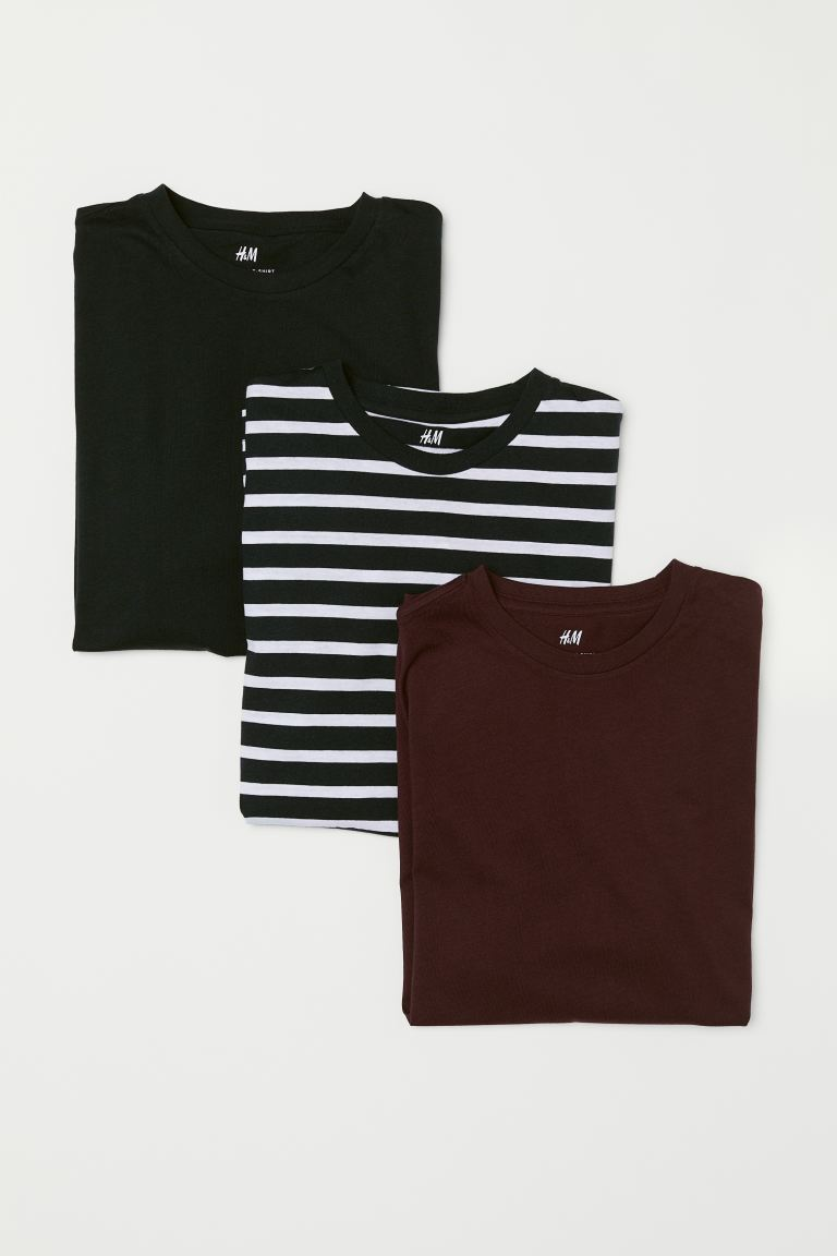 Pack de 3 t-shirts Regular Fit - Bordeaux/Riscas - HOMEM | H&M PT