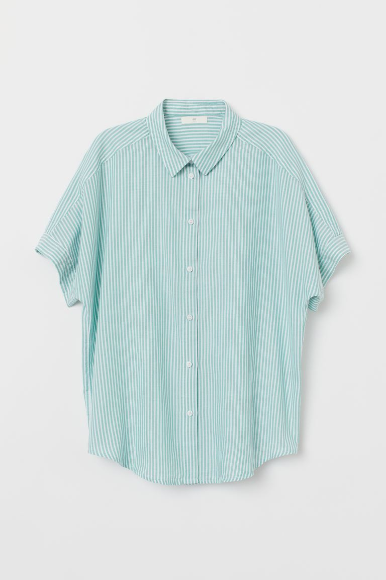 Short-sleeved Cotton Shirt - Green/white striped - Ladies | H&M US