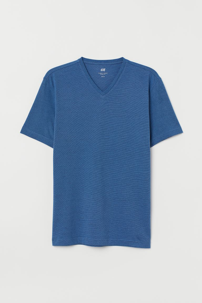 V-neck T-shirt Slim Fit - Blue/Narrow-striped - Men | H&M