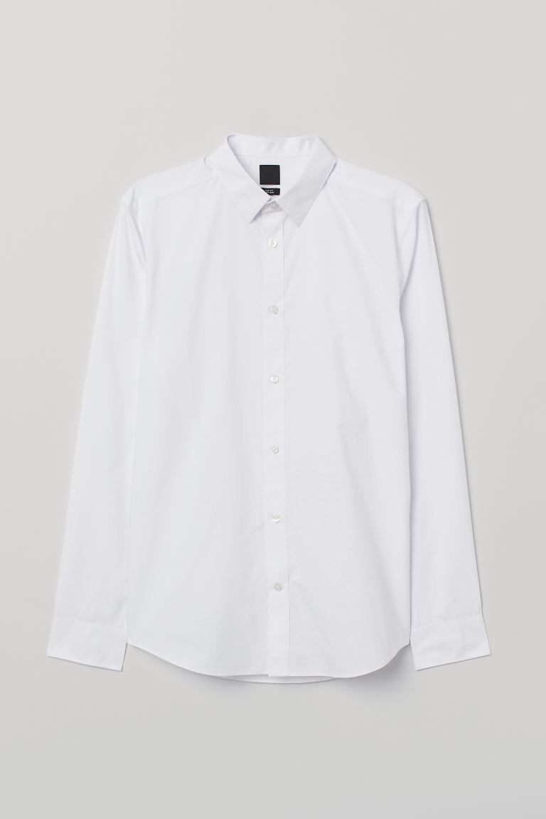 Camisa Easy-iron Slim fit - Blanco - Men | H&M US