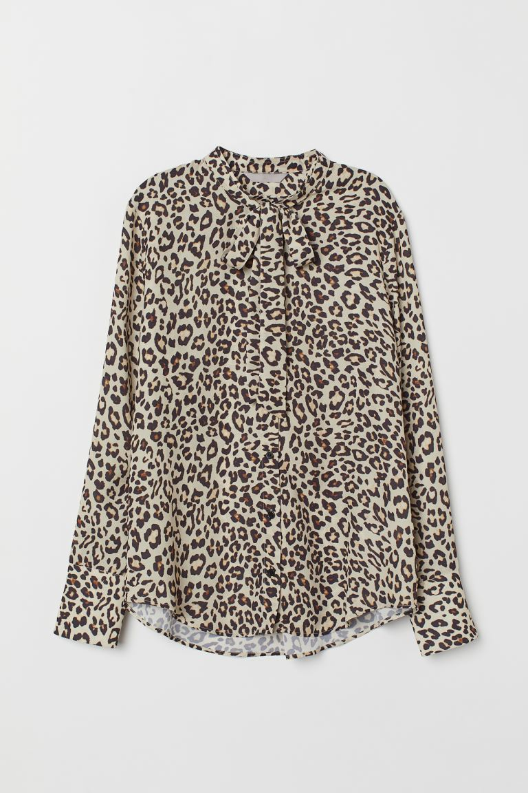Blouse with Ties - Light beige/leopard print - Ladies | H&M US