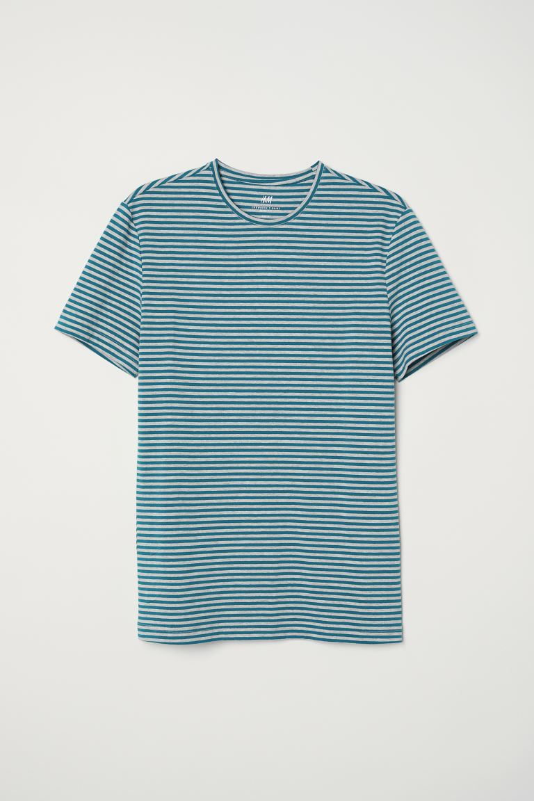 Round-necked T-shirt Slim Fit - Turquoise/Grey striped - Men | H&M