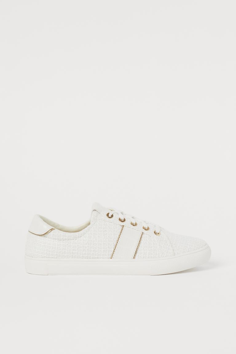 Textured Sneakers - Cream/gold-colored - Ladies | H&M CA