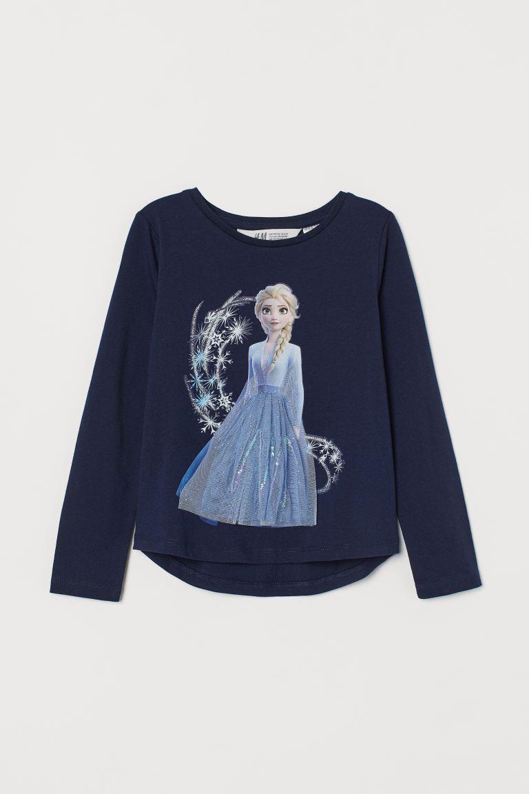 Jersey top with a motif - Dark blue/Frozen -    H&M GB