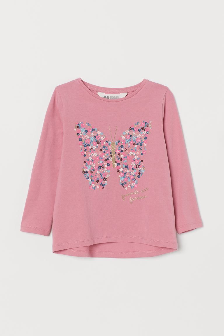 Printed cotton top - Pink/Butterfly - Kids | H&M GB