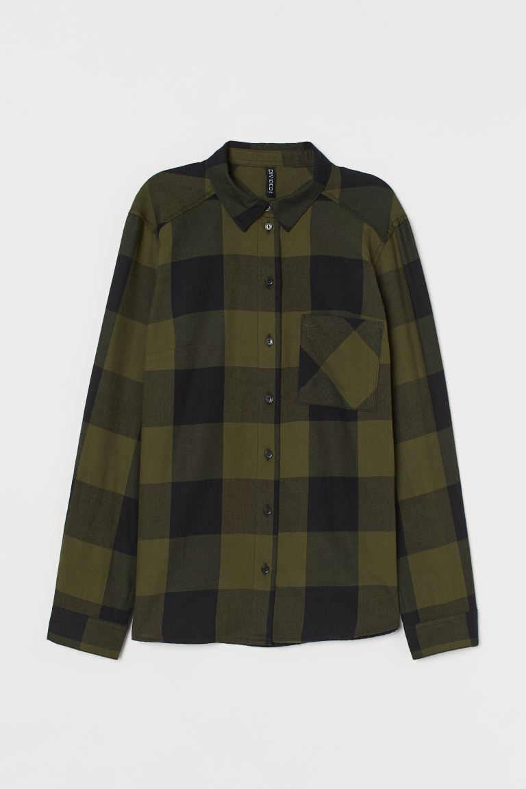 Cotton shirt - Dark green/Checked - Ladies | H&M GB