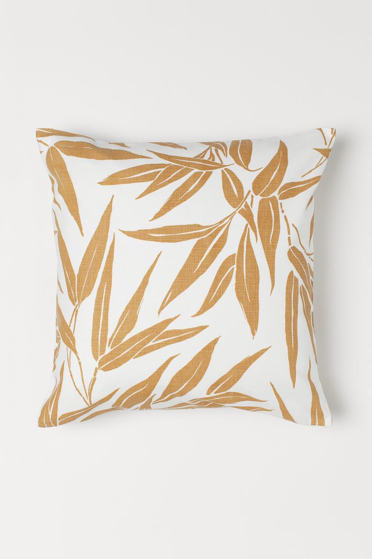 Leaf-patterned cushion cover - White/Beige - Home All | H&M GB