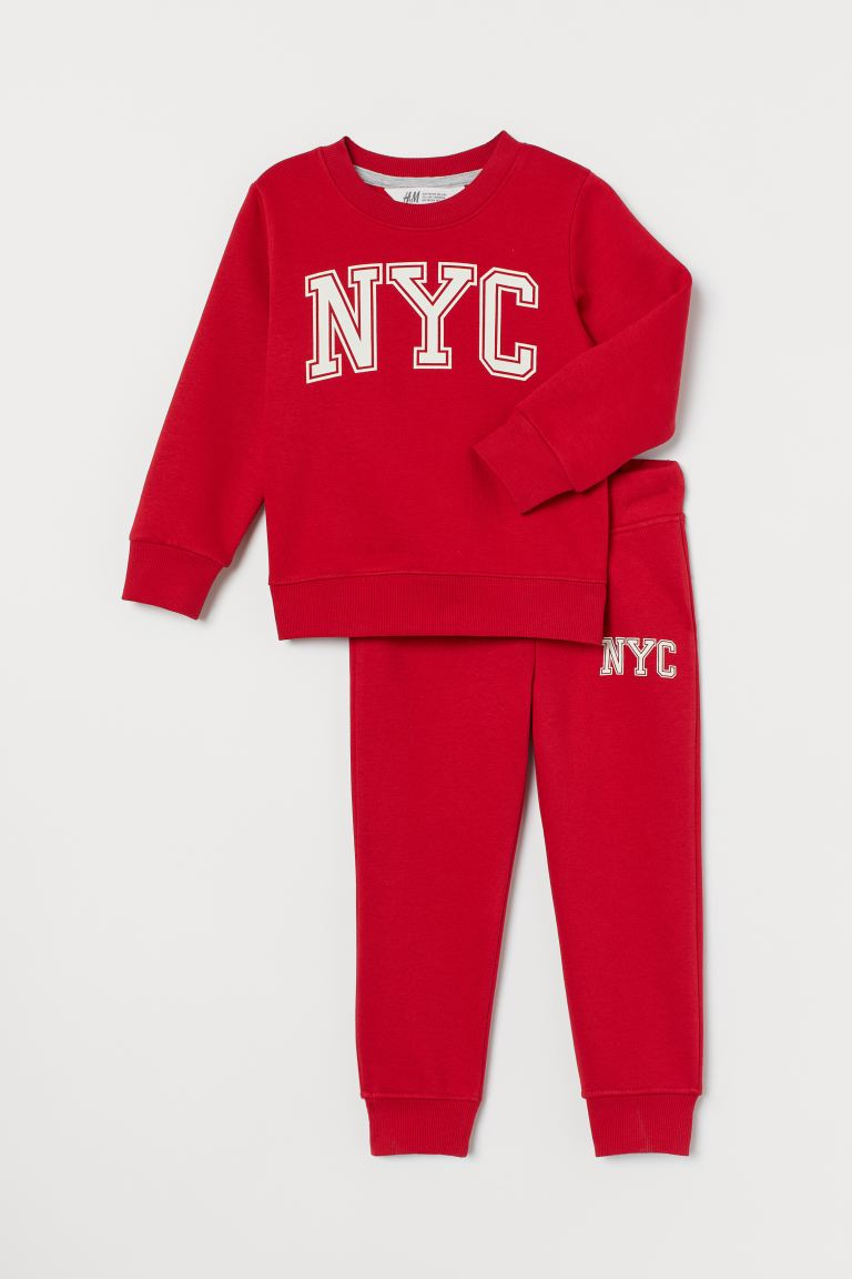Top and joggers - Red/NYC - Kids | H&M GB