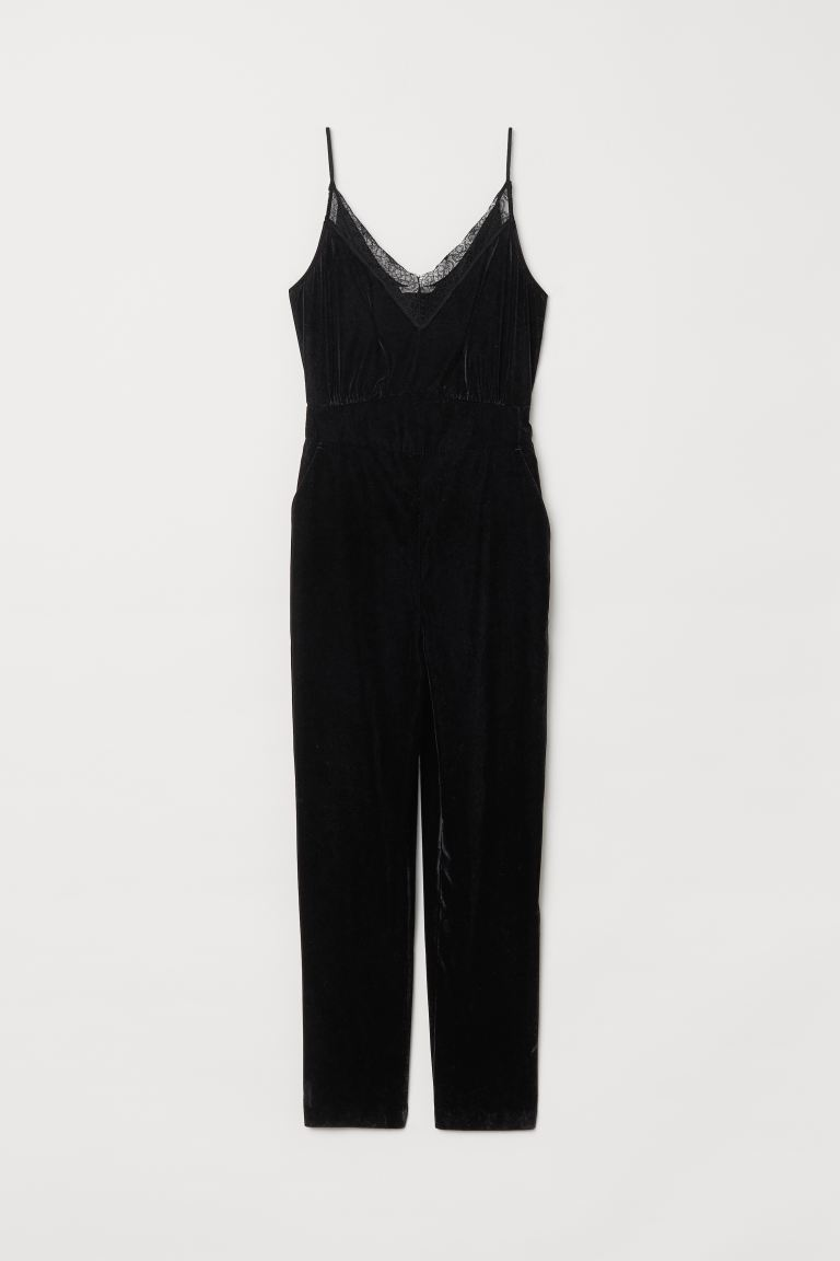 Velvet Jumpsuit - Black - Ladies | H&M US