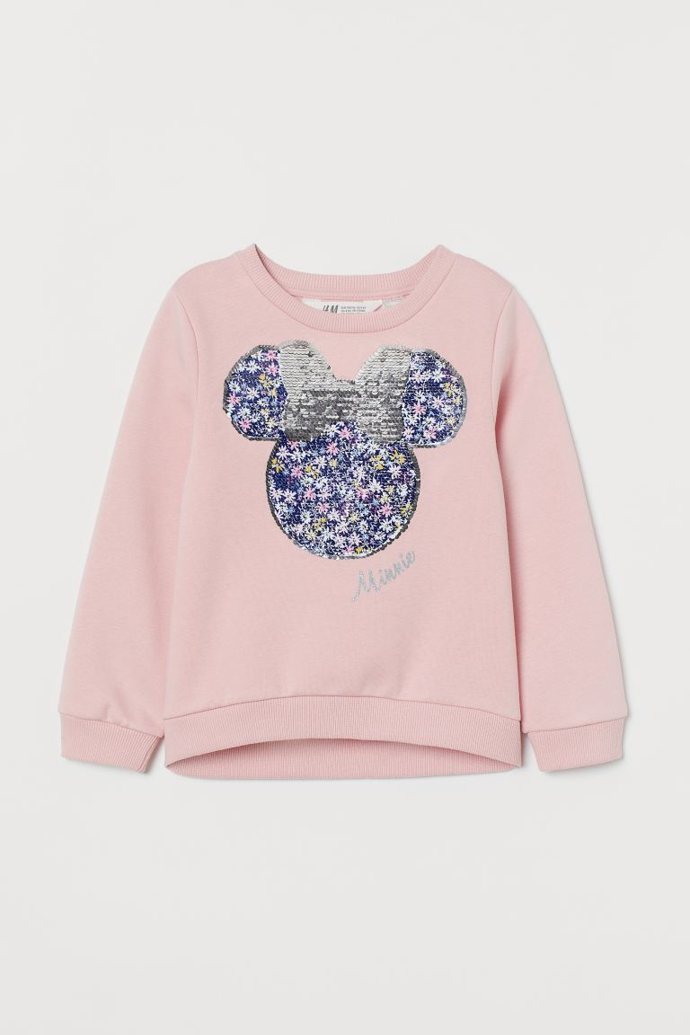 Sweat à paillettes - Rose clair/Minnie - ENFANT | H&M FR