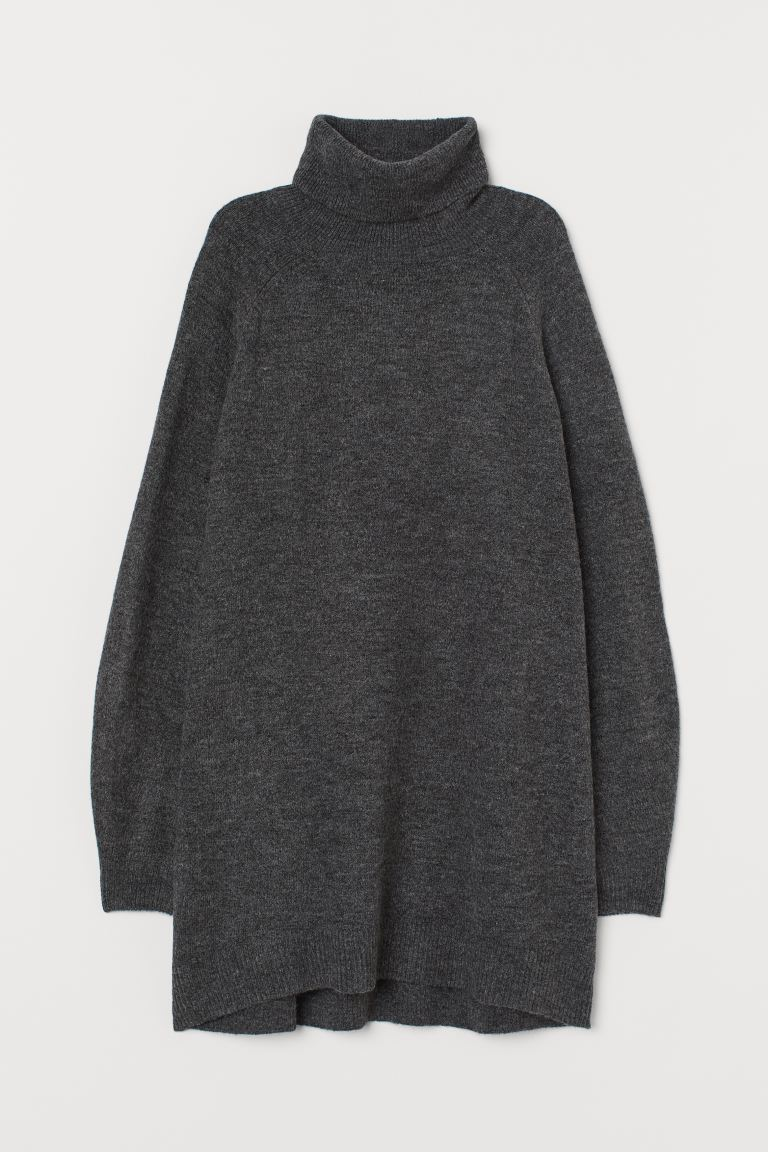 Long polo-neck jumper - Dark grey marl - Ladies | H&M