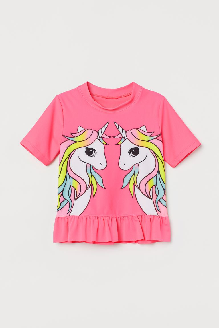 UPF 50 swim top - Neon pink/Unicorns - Kids | H&M