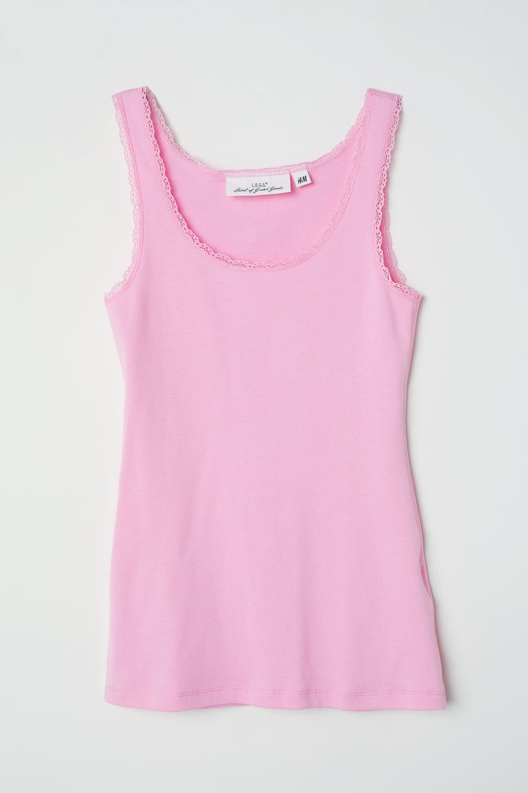 Lace-trimmed Tank Top - Light pink - Ladies | H&M US