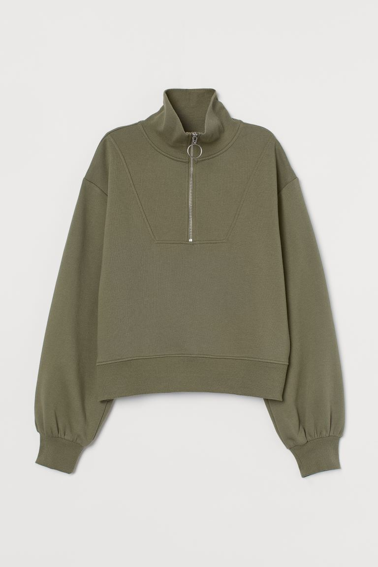 Sweatshirt with a zip - Khaki green - Ladies | H&M