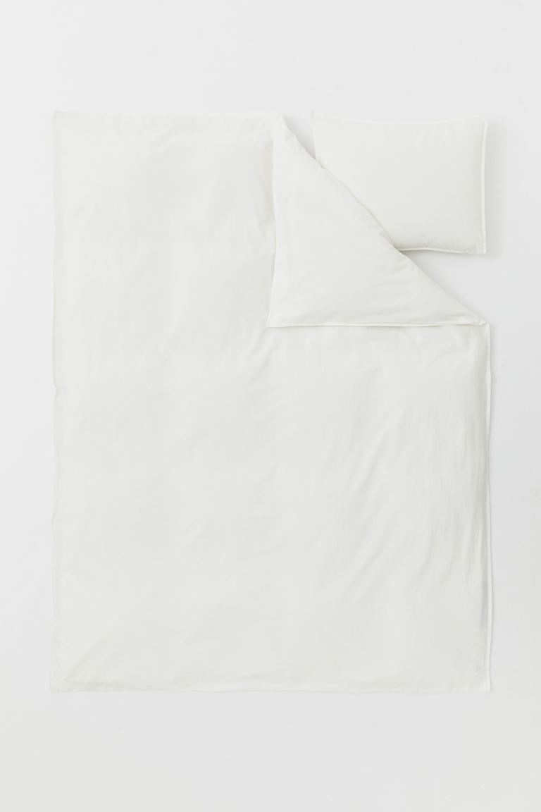 Washed Cotton Duvet Cover Set - Natural white - Home All | H&M US