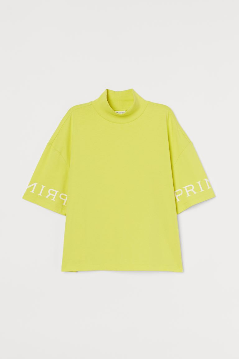 Turtleneck T-shirt - Yellow/Pringle - Ladies | H&M GB