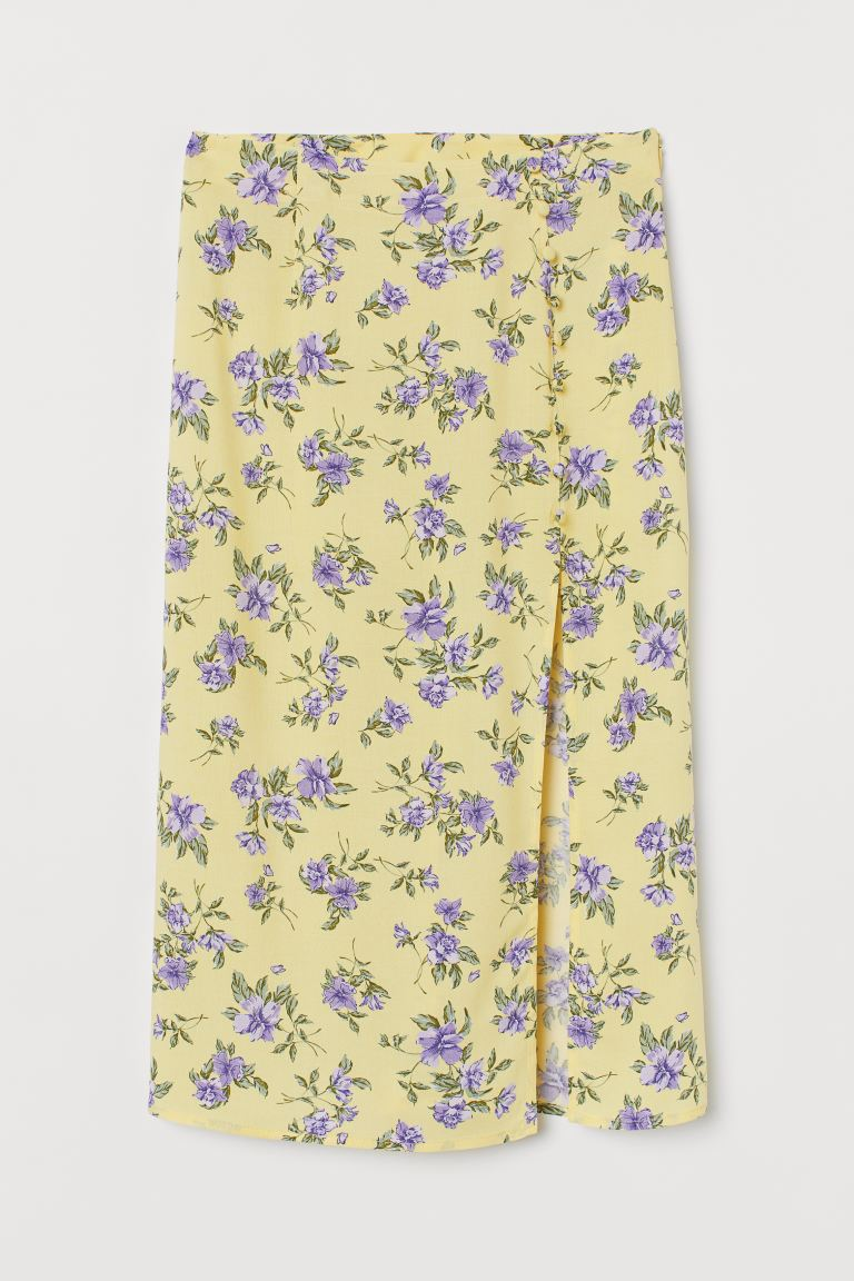 High-split skirt - Light yellow/Floral - Ladies | H&M IE