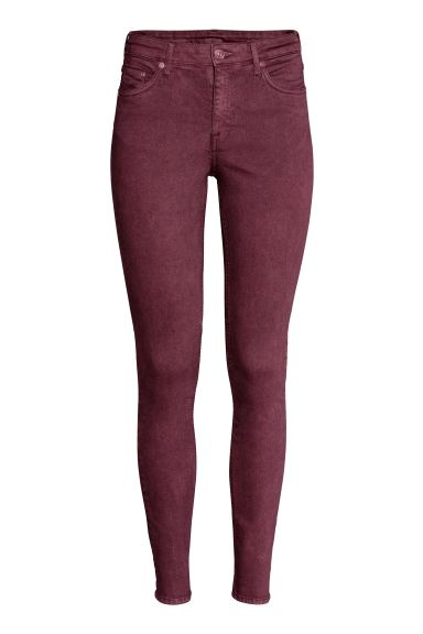 Skinny Regular Jeans - Burgundy - Ladies | H&M US