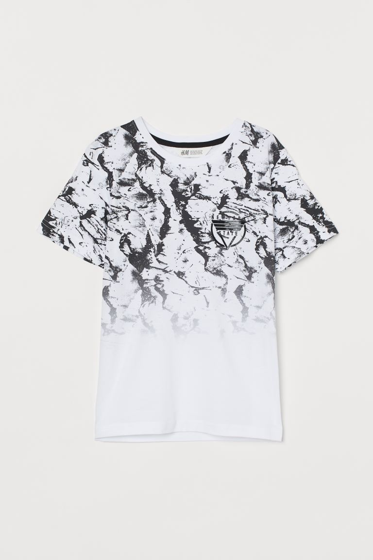 Graphic T-shirt - White/marble-patterned - Kids | H&M US