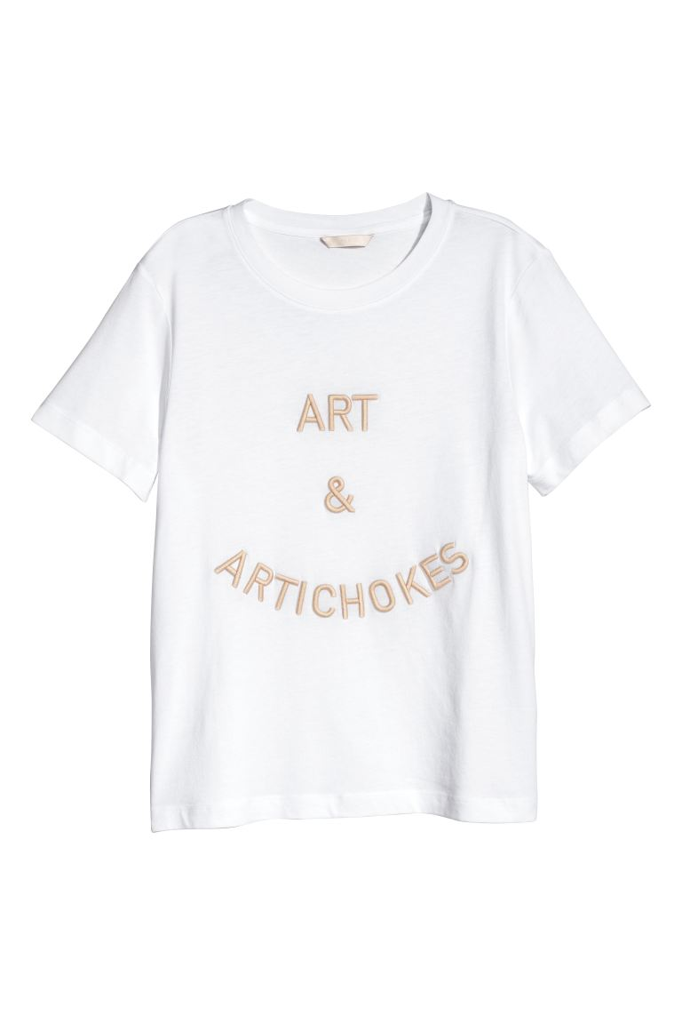 T-shirt with embroidery - White/Art&Artichokes - Ladies | H&M GB