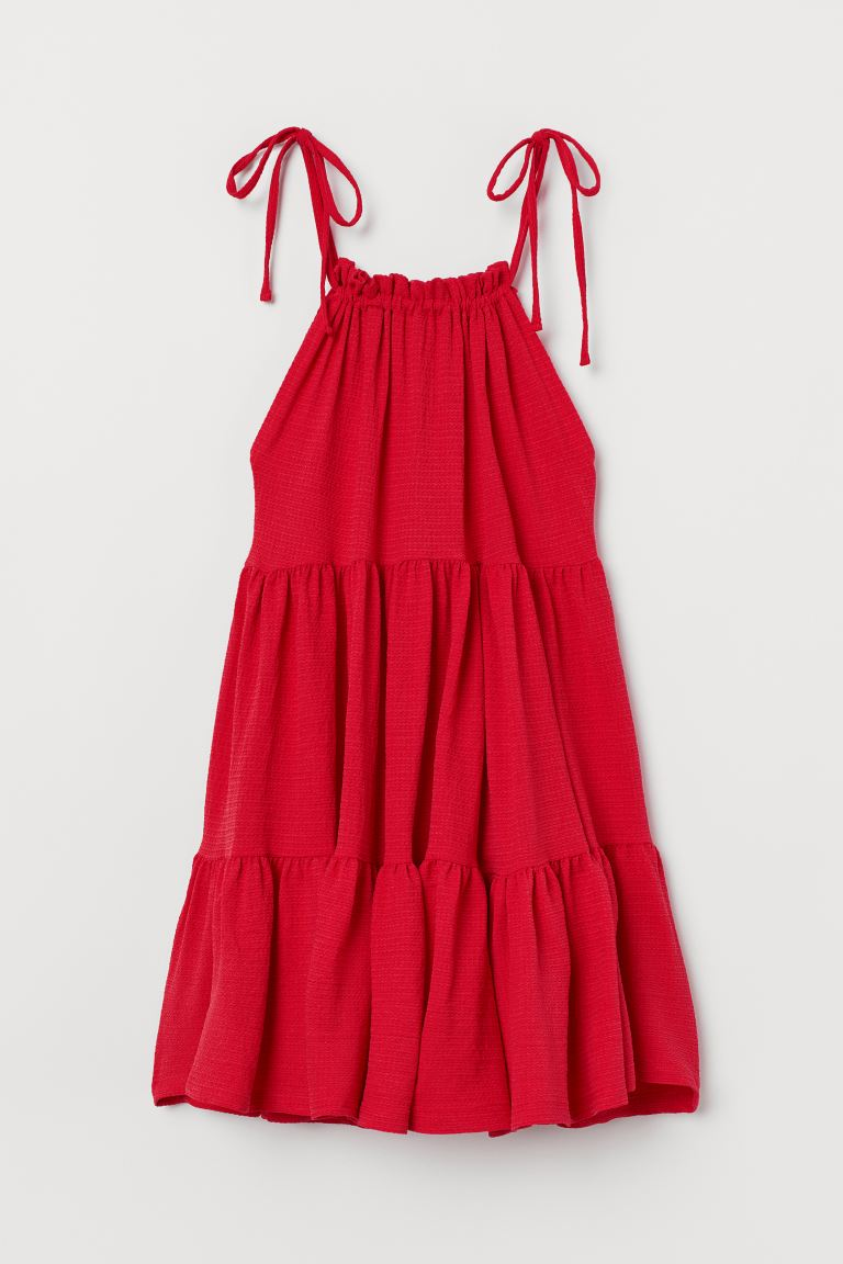Wide-cut Tiered Dress - Red - Ladies | H&M CA