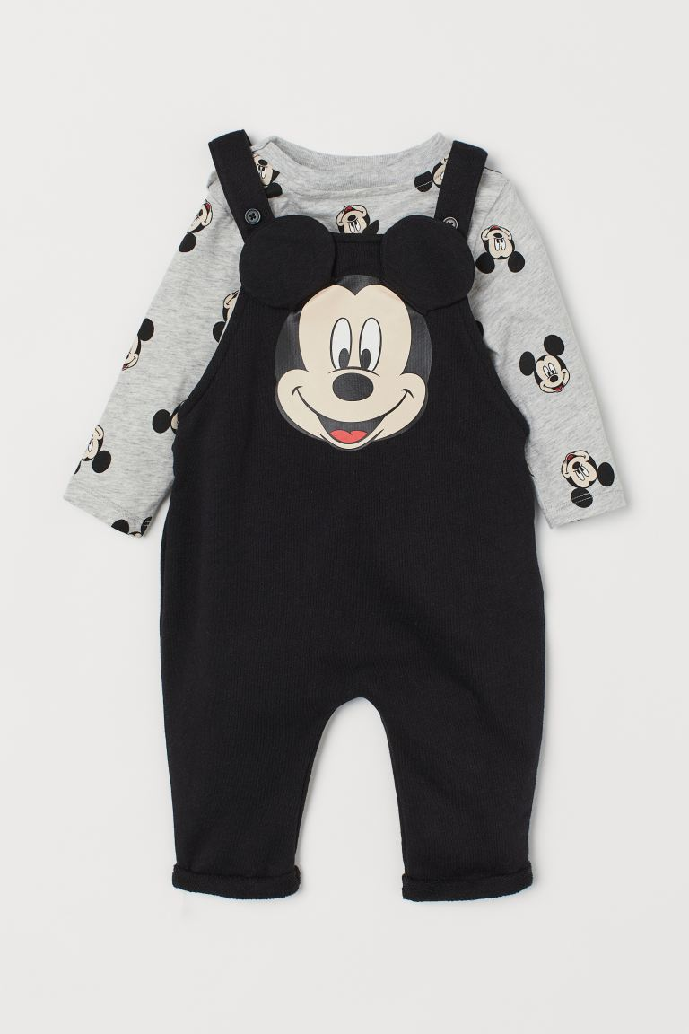 Shirt and Overalls - Black/Mickey Mouse - Kids | H&M US