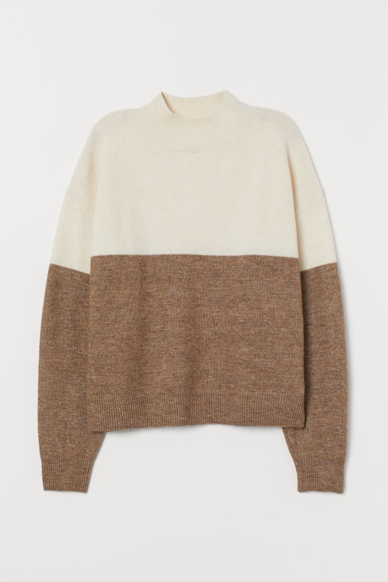 Turtleneck jumper - White/Dark beige - Ladies | H&M