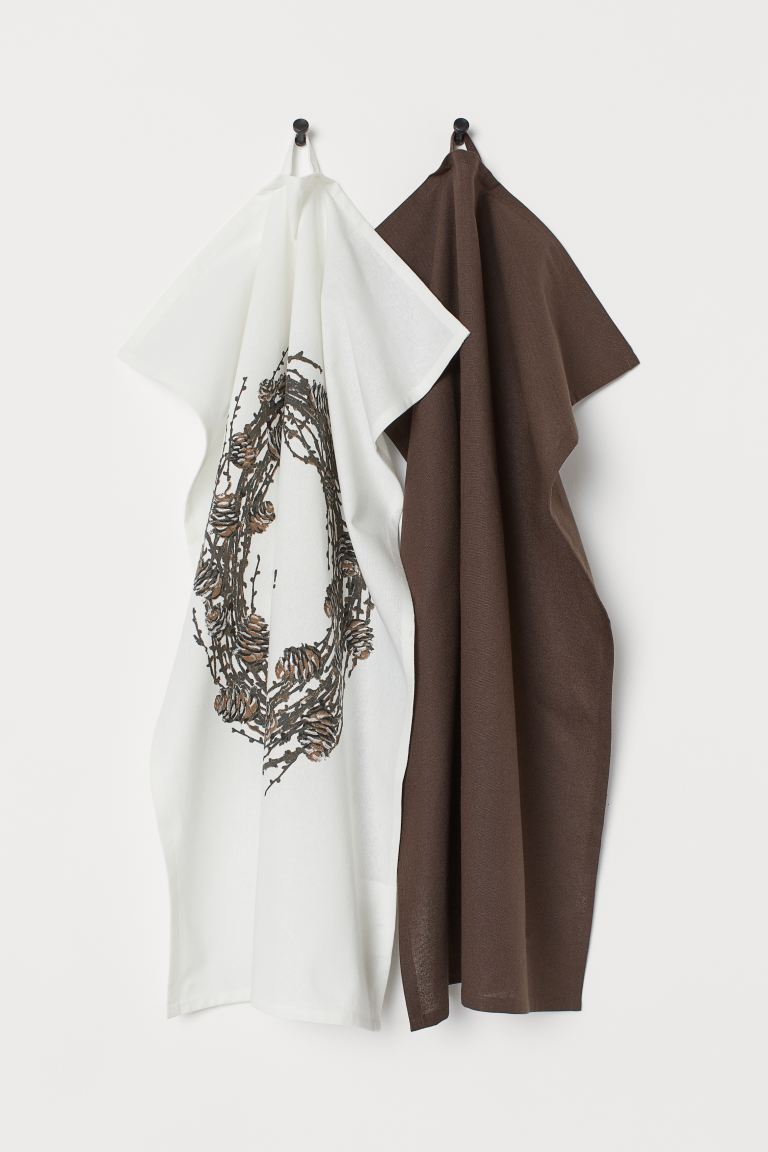 2-pack tea towels - White/Brown - Home All   H&M GB
