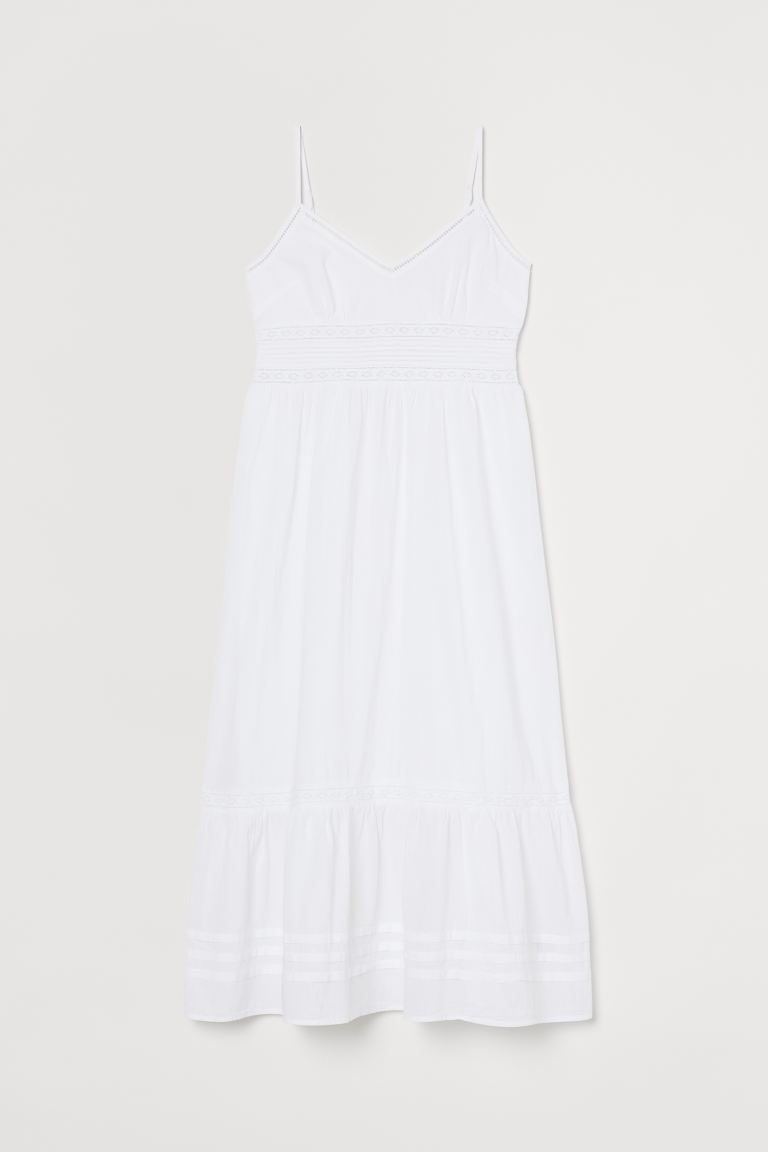 Maxi dress with lace details - White - Ladies | H&M GB
