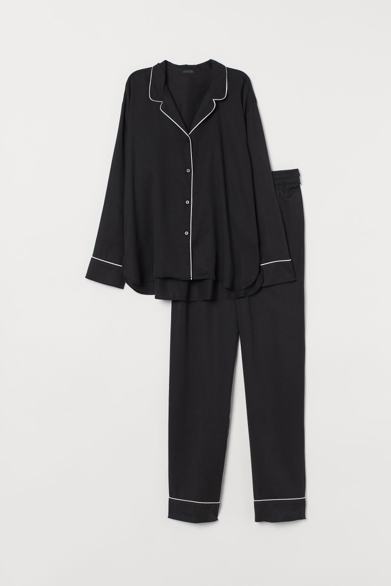 Pyjama en lyocell - Noir - Home All | H&M FR