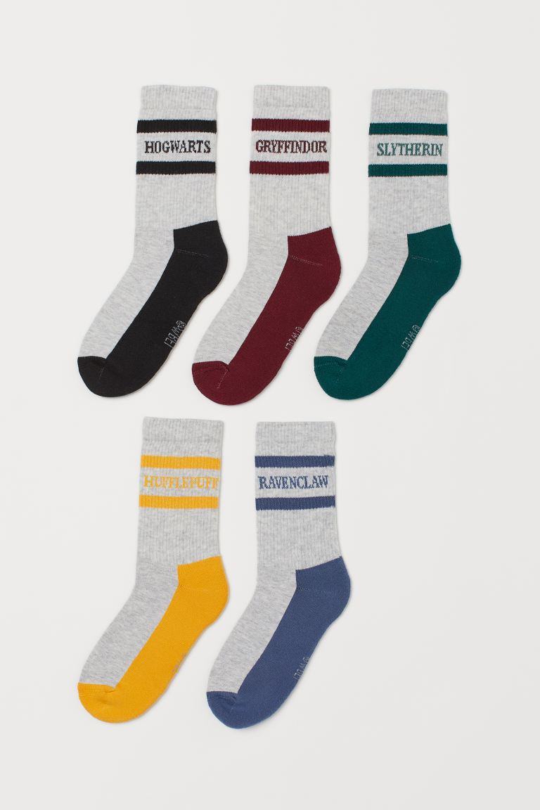 5-pack Hogwarts socks - Light grey marl/Hogwarts - Kids | H&M GB