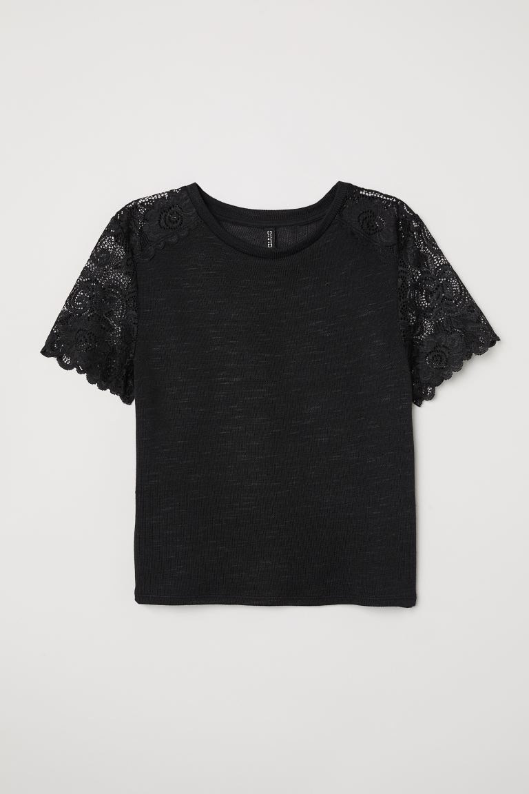 Fine-knit Top with Lace - Black - Ladies | H&M US