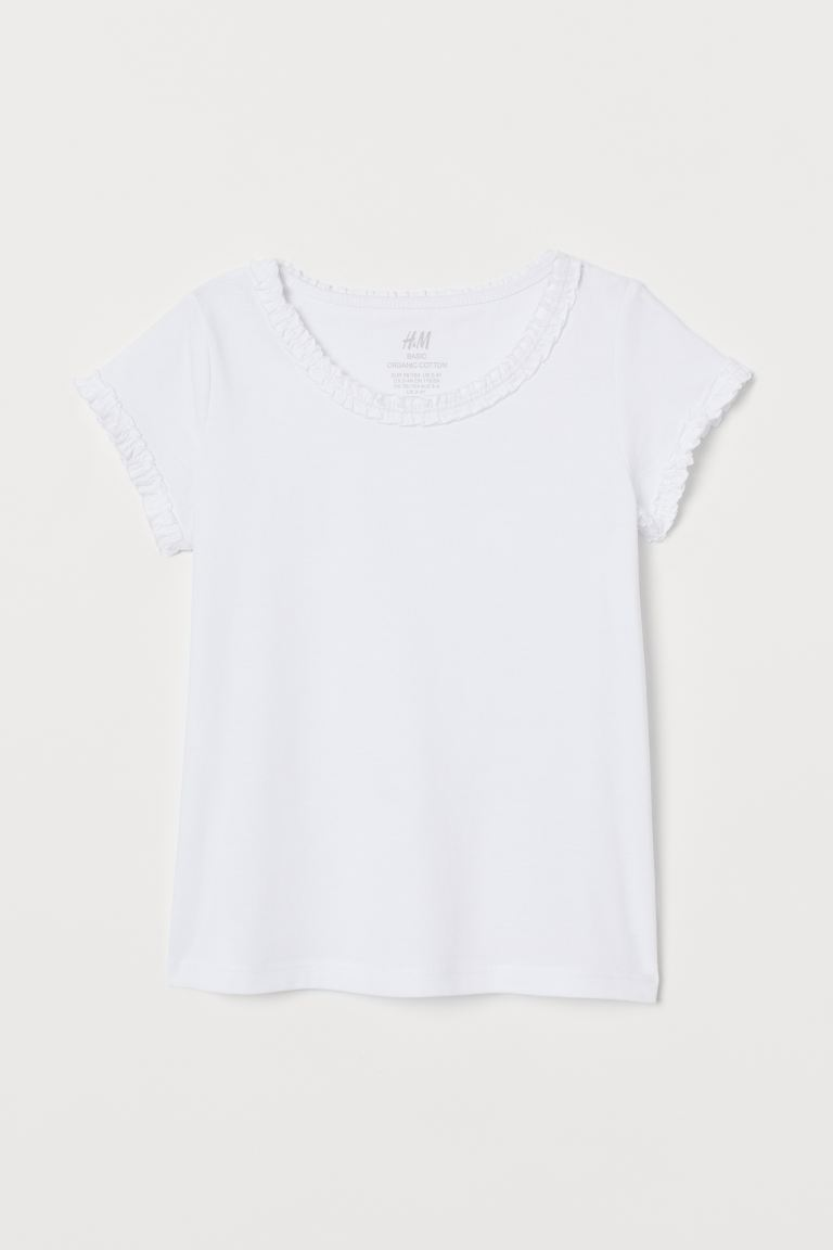 Flounce-trimmed cotton top - White - Kids | H&M