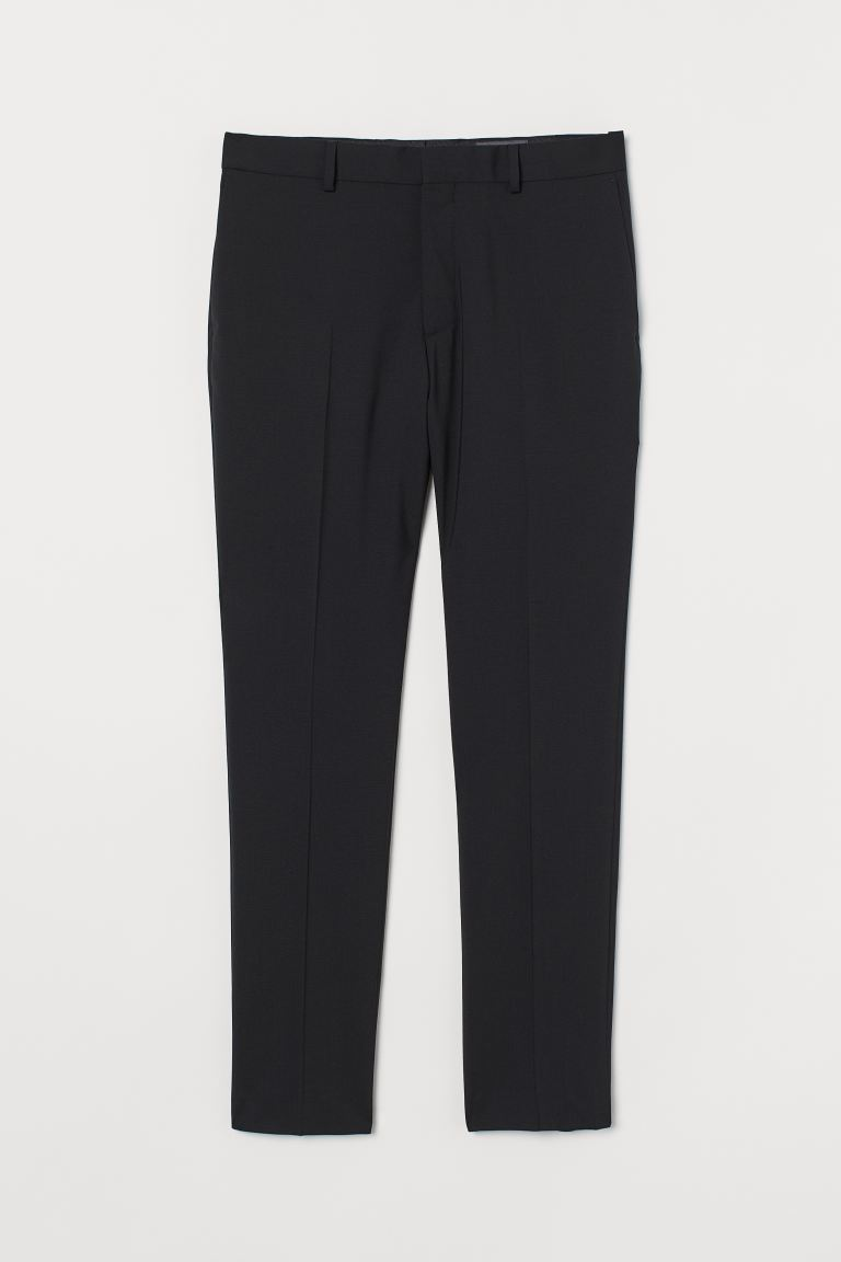 Skinny Fit Wool Suit Pants - Black - Men | H&M US