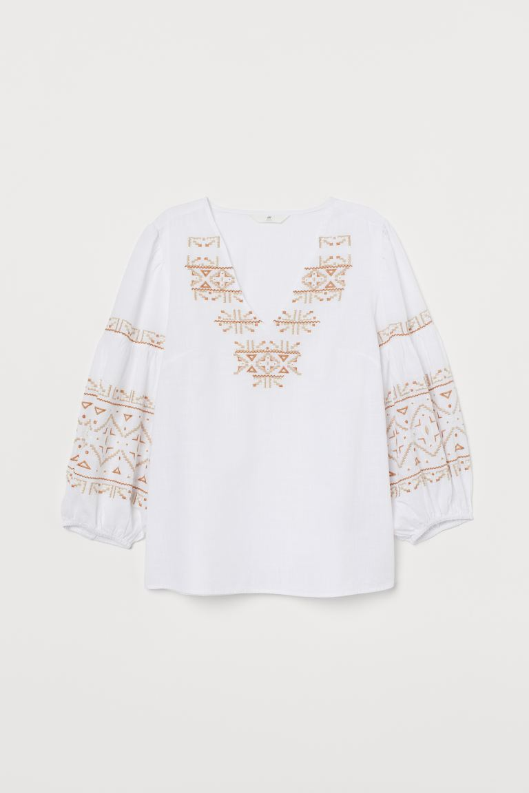 Embroidered Cotton Blouse - White - Ladies | H&M US