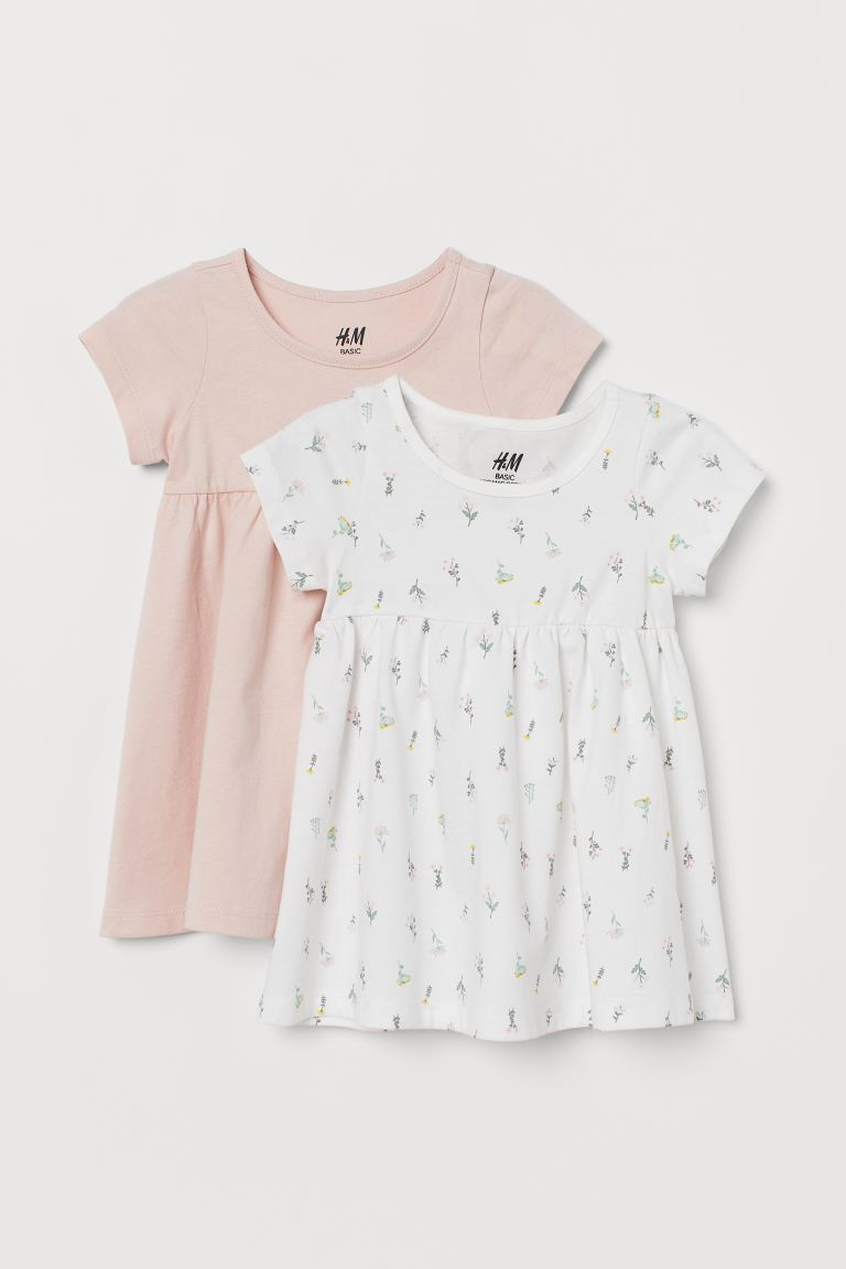 2-pack cotton dresses - Powder pink/Floral - Kids | H&M GB